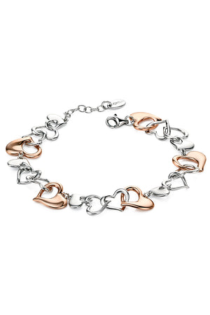 Rose gold & silver multi heart bracelet 17+3cm
