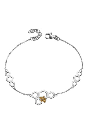 Honeycomb and bee silver and yellow gold platting stationary bracelet