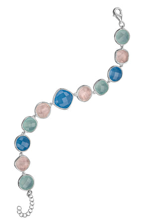 Fancy Blue Chalcedony, Rose Quartz & aqua drop bracelet