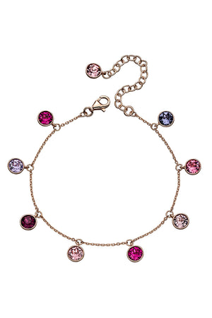 Rose gold plated pink/purple swarovski charm bracelet