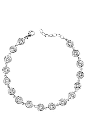 Solid textured swirl disc drop Bracelet