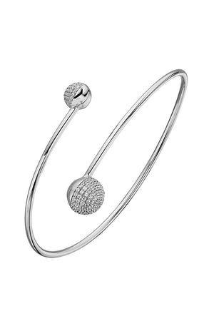 Ball bangle bracelet with pave stone setting