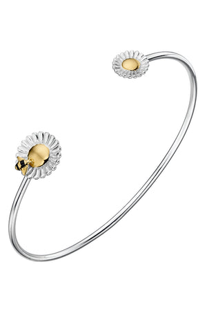 Bee flower torque bangle
