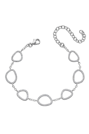 CZ Pebble outline station bracelet