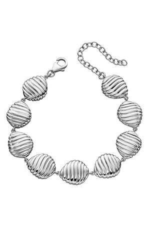 Silver swirl shell pattern pebble bracelet