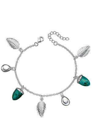 Turquoise and leaf charm bracelet