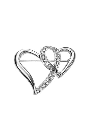 Double heart CZ brooch
