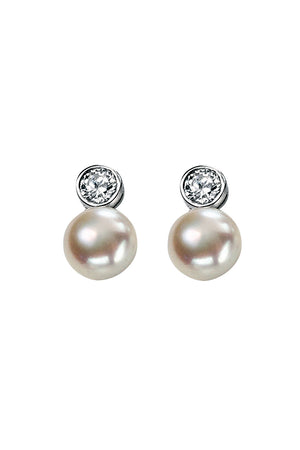 Cz and white pearl drop earrings