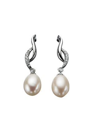 Twisted earring with pearl and cz