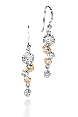 Gold plated clear CZ Waterfall Earrings