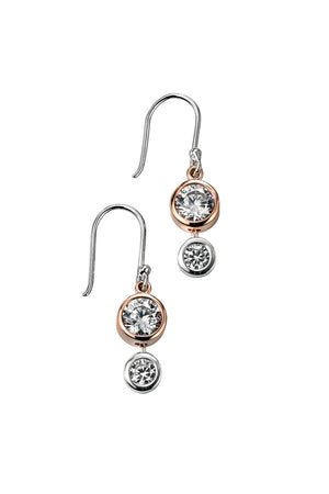 Rose Gold Plated Triple CZ Drop Earring