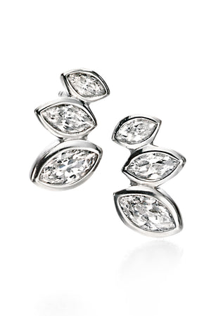 Clear CZ MARQUISE CLUSTER STUD EARRINGS