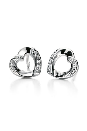 Clear cz ribbon heart earrings