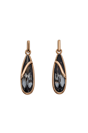 Swarovski Silver Nightshade Rose Gold Drop Earrings