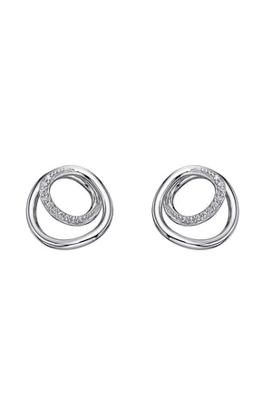 Circle/spiral design with CZ detail, plain silver earrings
