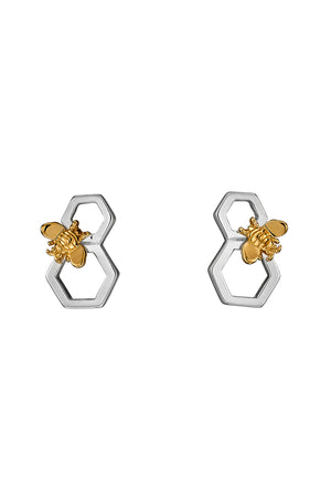 Honeycomb and bee silver and yellow gold platting earrings