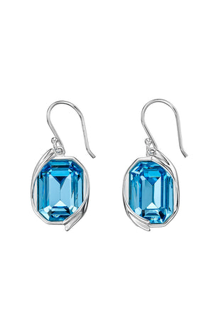 Aqua Swarovski ribbon detail earrings