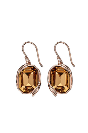 Colorado Topaz Swarovski rose gold ribbon detail earrings
