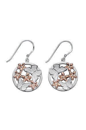 satin finish butterfly and rose gold flowers domed profile earring