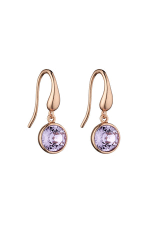 Rose gold plated Violet Swarovski drop earrings