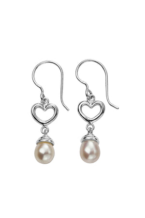Heart drop pearl earring