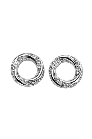 Round pave twisted earrings