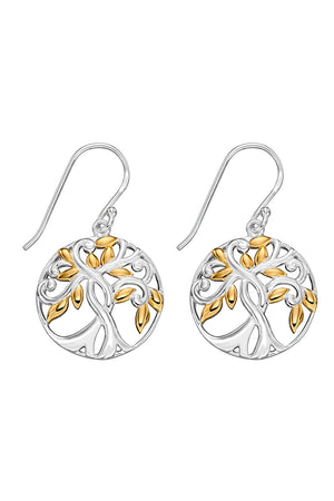 Silver and Gold Tree of Life Earrings