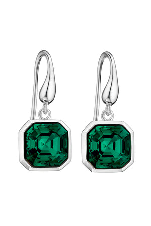 Swarovski Emerald asscher cut earrings