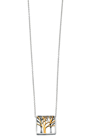 Rhodium Plated cut out tree necklace with gold plated details 41-46cm