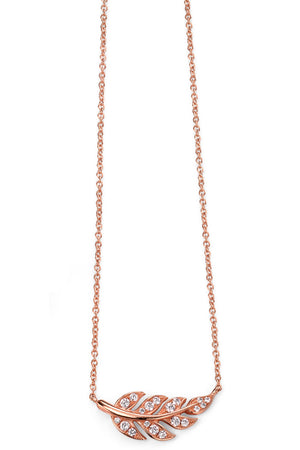 Rose gold plate clear CZ leaf necklace