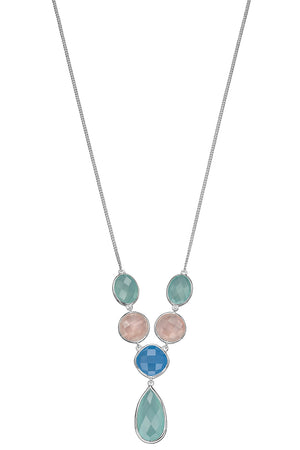 Fancy Blue Chalcedony, Rose Quartz & aqua chalcedony necklace