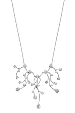 Burst CZ and pearl drop necklace