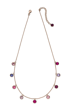 Rose gold plated pink/purple swarovski charm necklace