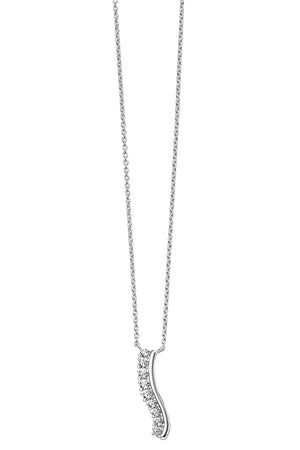 Pave CZ wavy bar necklace