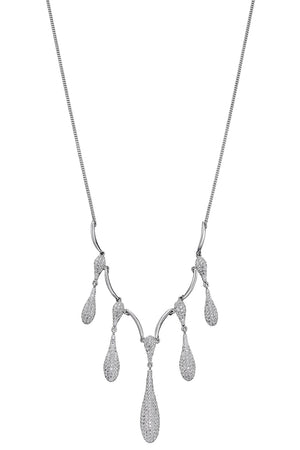 Cz pave organic drop necklace