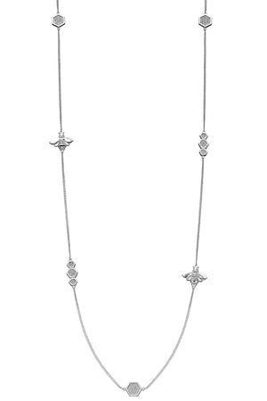 Detailed CZ pave bee station necklace