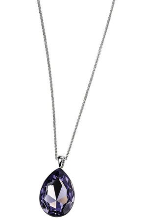Teardrop swarovski tanzanite colour crystal backed pendant