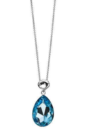 Aquamarine swarovski crystal pendant with fancy bale