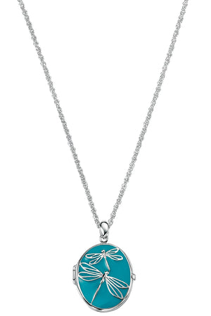 dragonfly blue enamel Locket