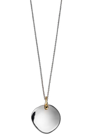 Disc pendant mix yellow gold and silver