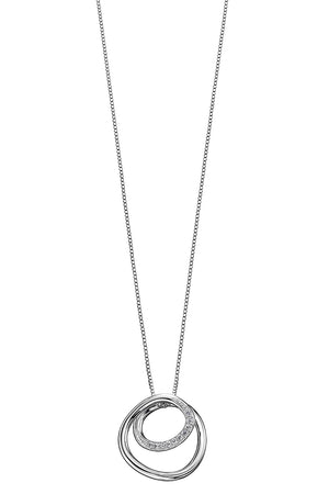 Circle/spiral design with CZ detail, plain silver pendant
