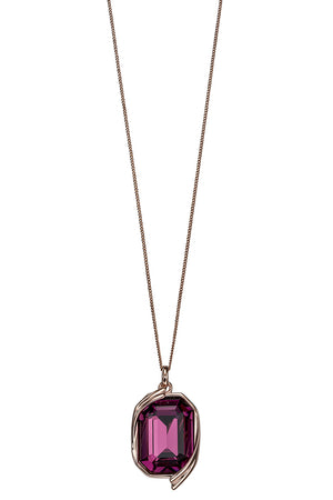 Amethyst Swarovski rose gold ribbon detail pendant