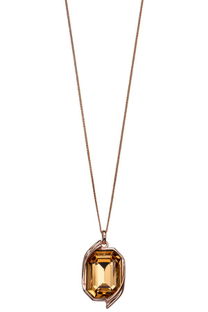 Colorado Topaz Swarovski rose gold ribbon detail pendant