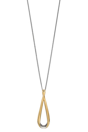 3D ribon pendant smaller size with  gold plating