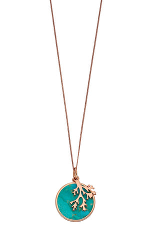 Rose Coral Pendant with turquoise