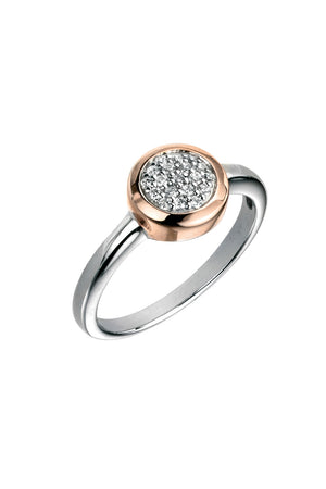 Pave Ring With Rose Gold Surround