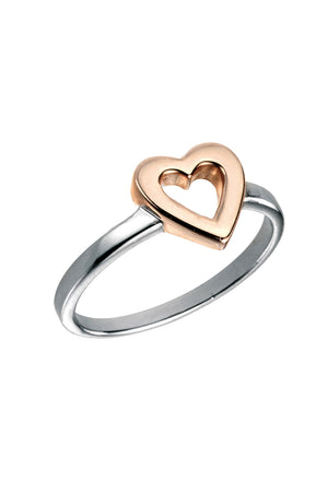 Ring With Rose Gold Open Heart