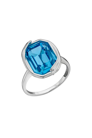 Aqua Swarovski ribbon detail ring