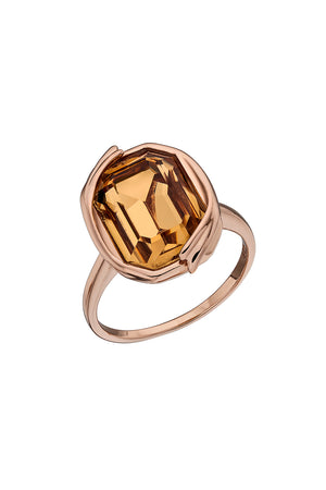 Colorado Topaz Swarovski rose gold ribbon detail ring
