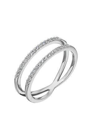 Silver White CZ Double band Ring